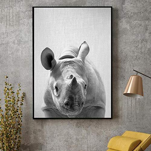 Impresiones en Lienzo Minimalistas Negro Blanco Bebé Rinoceronte Pinturas en Lienzo Arte de la Pared Imágenes Dormitorio Moderno Sala de Estar Decoración para el hogar-50x70cm Sin Marco