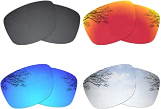 Dynamix 4 Pairs Polarized Replacement Lenses for Oakley Jupiter Squared OO9135 - Solid Black/Fire Red/Ice Blue/Titanium