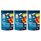 Gerber Fruit & Veggie Melts Freeze-Dried Fruit & Vegetable Snacks, Truly Tropical Blend, 1 ounce, 3 Pack