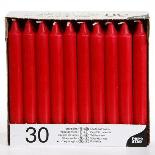 30 Tafelkerzen Ø 2,15 cm · 19,6 cm rot - 13700