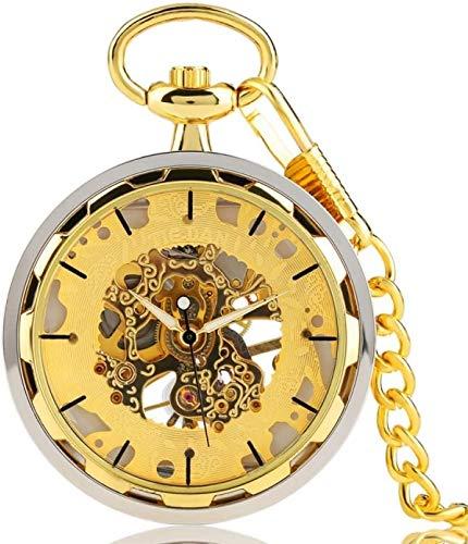 WEHOLY Orologio da Tasca Orologi da Tasca in Oro per Uomo Design Trasparente Orologio Meccanico a Carica Manuale Pendente Elegante Catena Dorata