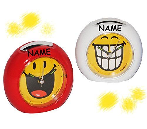 alles-meine.de GmbH lustiger Smiley Wecker incl. Namen - für Kinder + Erwachsene - mit LICHT - Kinderwecker lustig - mit Alarm für Mädchen und Frauen - Analog Gesichter Smile Emo..