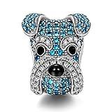 NINAQUEEN Charm Encaja con Pandora San Valentín Regalos Mujer Originales Schnauzer Perro Azul Animal Plata 925 Abalorios