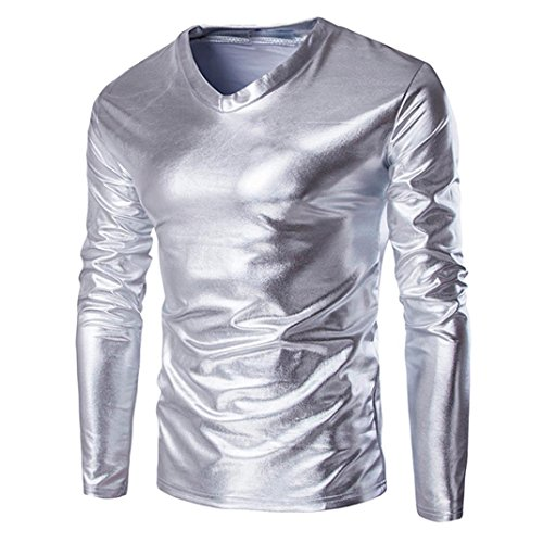 Bekleidung Herren AMUSTER Herren Langarm T-Shirt Einfarbige T-Shirts mit V-Ausschnitt Slim Fit Bluse Metallic glänzend Top Mode Oversize Herren T-Shirt Top Tee Outwear M-5XL (M, Silber)