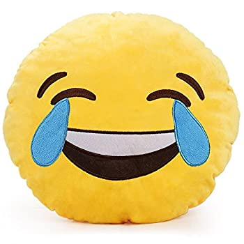 PLUSH & PLUSH TM 12  Inch / 30cm Large Emoji Pillows Smiley Emoticon Soft Plush Stuffed Yellow Roundy Full Collection  USA SELLER   LAUGH WITH TEARS