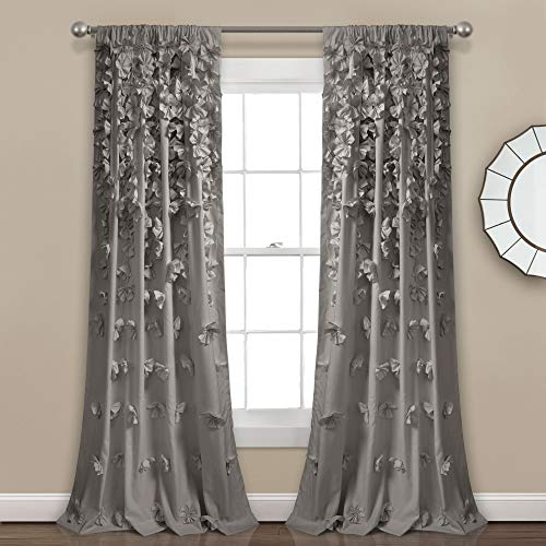 """Lush Decor Riley Curtain Sheer Ruffled Textured Bow Window Panel for Living, Dining Room, Bedroom (Single), 84"""" L, Gray"""