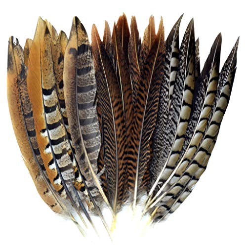 obmwang 21 Pcs 20-25cm Natural Pheasant Feathers for DIY Craft Wedding Home Party Decorations, 3 Styles