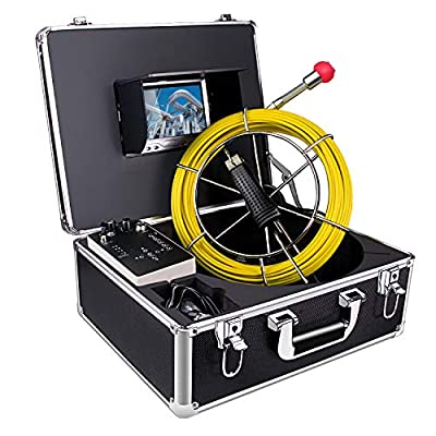 Pipe Inspection Camera, Sewer Camera Drain Industrial Endoscope Waterproof IP68 Snake Video System with 7 Inch LCD Monitor 1000TVL Sony CCD DVR Recorder Snake Camera(8GB SD Card Include) (7D1-20M)