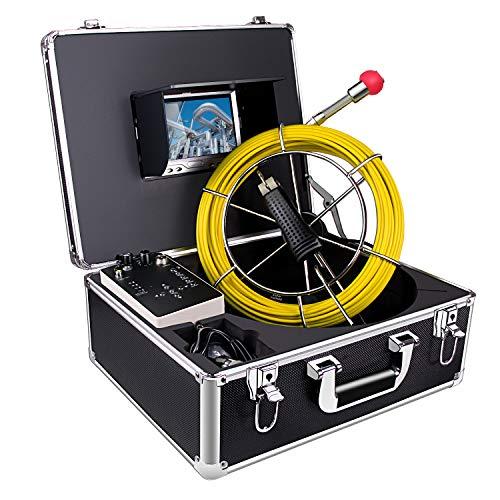 Cámara de inspección de tuberías, Alcantarilla Desagüe Industrial Endoscopio Impermeable IP68 Serpiente Vídeo Sistema con 7 Pulgadas Cámara de Monitor 1000TVL con Cable 20M