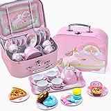 DQTYE Juego de 24 piezas de juguete para niños y té de lata y estuche de transporte, diseño colorido, juego de café y té para niños
