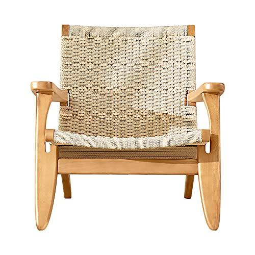 SANSHUI Modern Corda Divano Sedia Balcone Lounge Sdraiale Designer Single Tiger Sedia Resort Sedia in Legno Massello(Color:Un)