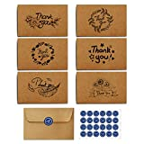 Kidtion 120 Sets Thank You Cards with Envelopes, Premium Kraft Paper Bulk, Gift Greeting Cards and Thank You Notes with 6 Designs for Wedding, Small Business, Formal 4x6 Inch Blank