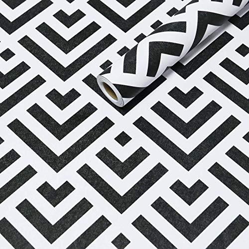 Papel pintado Geométrico de Contacto Negro y Blanco Pelar y Pegar Autoadhesivo Textura Impermeable 45 cm×300 cm Muebles Pegatinas Vinilo Película Triangular Flecha Minimalista Rayas Negras Blancas