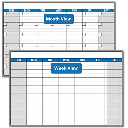 Dunwell Jumbo 32x48 Erasable Undated Monthly Weekly Planner (Blue) with 2020 Horizontal Vertical Reversible Large Calendar, Laminated Dry Wet Erase Poster Calendars, Shipped Rolled Not Folded