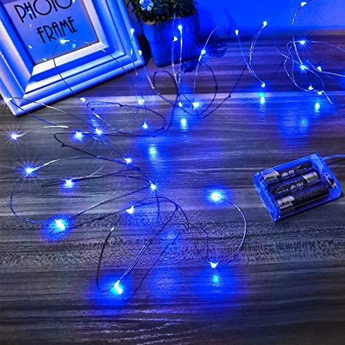 Led Lichterkette Batterie Strombetrieben, 1 Packung Batteriebetrieben 5m 50er Micro LED Kupferdraht Lichterketten für Weihnachten, Innen, Feste, Hochzeiten, Dekoration(Blau)