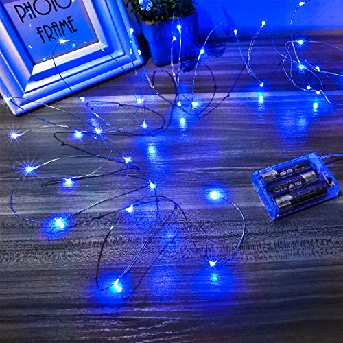 Ariceleo Led Fairy Lights Battery Operated, 1 Pack Mini Battery Powered Copper Wire Starry String Lights for Bedroom, Christmas, Parties, Wedding, Centerpiece, Decoration (5m/16ft Blue)