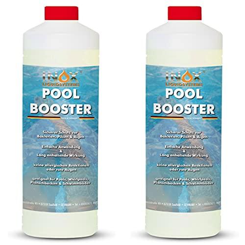 INOX® Pool Booster - 2 x 1L - Effektiver Algenvernichter Pool - Flüssiges Algizid für Pool - desinfizierendes Reinigungsmittel gegen Algen - Hochwirksame Pool Chemie
