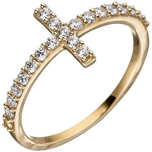 JOBO Damen-Ring Kreuzring aus 333 Gold mit 19 Zirkonia Größe 60