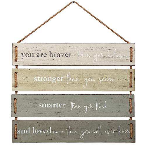 "Barnyard Designs You are Braver Than You Believe, Stronger Than You Seem Quote Wall Decor, Decorative Wood Plank Hanging Sign 17"" x 14"