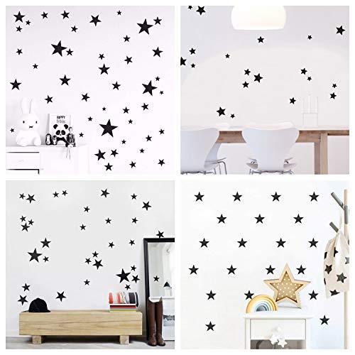 WandSticker4u®- 60 étoiles à coller noir/ argenté/ doré Sticker mural Ciel étoilé Décoration Murale Autocollant décoratif pour chambre bébé Chambre Couloir Meubles Salon (A: Étoile: noir)