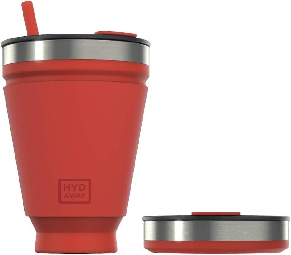 Vaso plegable para bebidas HYDAWAY   Taza portátil, aislada, para bebidas calientes y frías para café, té, batidos, cerveza, cócteles, viajes, viajes diarios, camping, eventos   473ml de capacidad