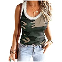 Beeatree Womens Suspender Vest Patched Blouse Camo Crewneck T-Shirt Top Green XL