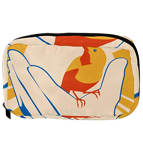 TIZORAX Cosmetic Bags Yellow Bird In Hand Poster Handy Toiletry Travel Bag Organizer Makeup Pouch for Women Girls