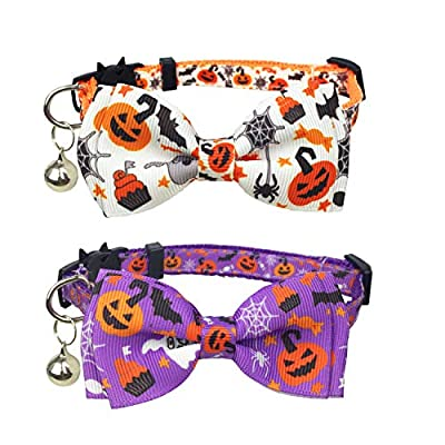 Pohshido Halloween Cat Collar with Bell, Kitty Kitten Holiday Bow tie Collar Breakaway 2 Pack for Girl and Boys Male Female