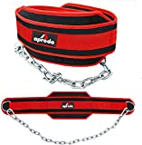APRODO Professional Back Support DIP Belt with Steel Chain 36 INCHES Weighted Chain for DIPS Pull UPS Weight Lifting Crossfit, ONE Size FITS All (RED Black)