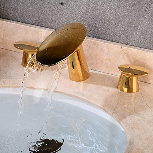 SDCVRE Grifo de Lavabo Grifo de Lavabo de Oro Cepillado Grifo de baño de Oro Rosa Grifo de Lavabo de baño de 3 Orificios de 8 Pulgadas Grifo de Lavabo Mezclador Grifo de Agua Dorado, Dorado