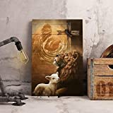 Torenio Jesus Lion and Lamb Poster, Jesus Hand Reaching Out from Heaven, Lost Sheep & Lion, Easter Jesus, Easter Lamb, Jesus Save Us Wall Art (No Frame)