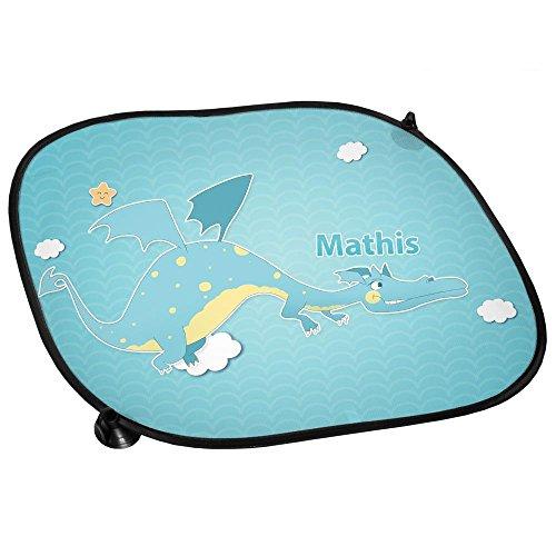 Auto-Sonnenschutz mit Namen Mathis und Motiv mit Drache für Jungen | Auto-Blendschutz | Sonnenblende | Sichtschutz