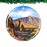 Weekino España Volcán Teide Tenerife Navidad Ornamento Ciudad Viajar Recuerdo Colección Doble Cara Porcelana 2.85 Pulgadas Decoración de árbol Colgante