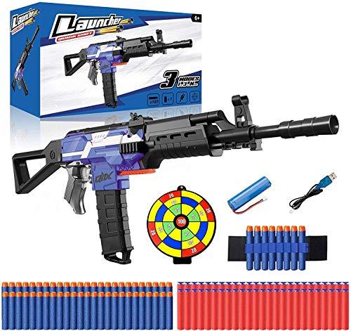 Pistola de Juguete Eléctrica con Clip de 12 Dardos, Nerf Pistola Grande Automático + 100 Dardos Espuma + Objetivo + Batería Recargable USB, 3 Modos de Disparo, Regalo para niños, Adolescente, Adulto