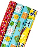 WRAPAHOLIC Birthday Wrapping Paper Roll - Colorful Gift Boxes and Stars Design Perfect for Celebration, Party, Baby Shower Present Packing - 4 Rolls - 30 inch X 120 inch Per Roll