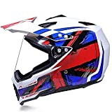 FDDA Casco Integral para Motocicleta Cascosintegrales,Visores de Casco de Moto - Motocross Motociclista Cascos Seguridad Protectores para Mujer Hombre Adultos Helmet Modulares @L