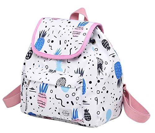 MIETTE Mochila pequeña tipo bolso con solapa | Cabe un iPad Mini | 27x24x12 cm | Piña, Blanco
