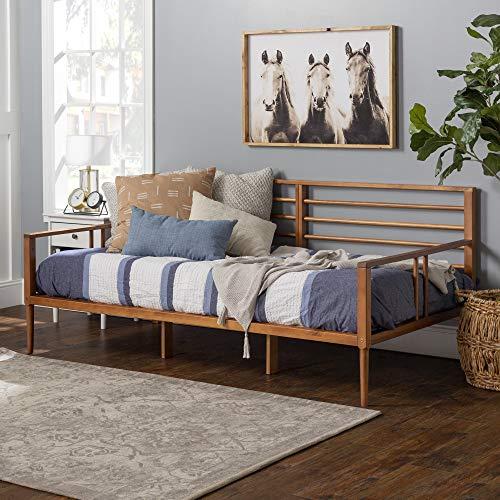 Walker Edison Mid Century Modern Wood Spindle Daybed Headboard Footboard Bed Frame Bedroom, Day, Caramel