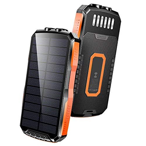 WXLSQ Power Bank 25000mAh, Cargador Solar con Carga Qi Inalambrica, Batería Externa Carga Rápida LED Linterna, Batería Externa para Smartphones Tabletas Banco de Energía,Cromo,25000mAh