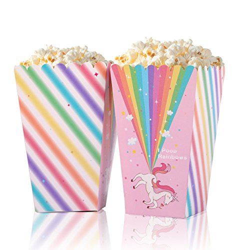 Unicorn Party Supplies Popcorn Treat Boxes - Baby Shower/Birthday Favors Decorations 16Ct