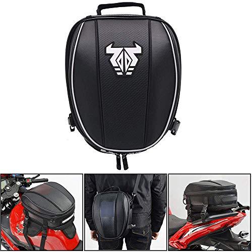 Bolsa de cola de motocicleta Mochila impermeable para casco bolsa de asiento bolsa de cola bolsa de equipaje bolsa de sillín de moto Bolsas multifuncionales 12-15L blanco