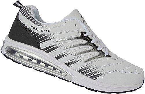 Roadstar Herren Sportschuhe Sneaker Schuhe Übergröße Gr.47-49 Nr.1406 weiß-schwarz (47)