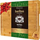 EXTRA LARGE Organic Bamboo Cutting Board with Juice Groove - Best Kitchen Chopping Board for Meat (Butcher Block) Cheese and Vegetables   Anti Microbial Heavy Duty Serving Tray w/Handles - 18 x 12