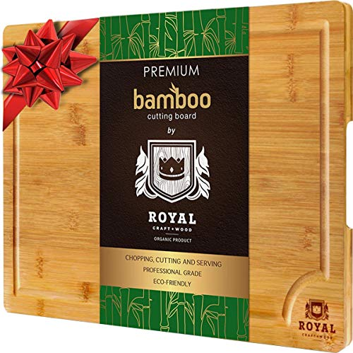 "Organic Bamboo Cutting Board with Juice Groove - Best Kitchen Chopping Board for Meat (Butcher Block) Cheese and Vegetables | Anti Microbial Heavy Duty Serving Tray w/Handles (XL (18x12""))"