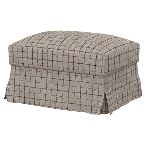 Soferia Funda de Repuesto para IKEA FARLOV reposapiés, Tela Stewart Grey Check, Gris