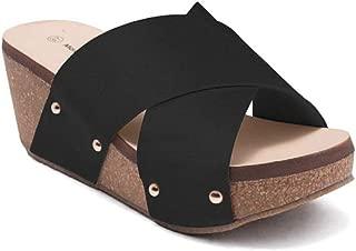ShoBeautiful Women's Crisscross Strappy Slip-On Chunky Platform Wedge Slide Sandal DCW
