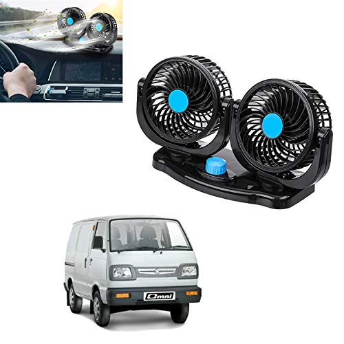 Adroitz Powerful Quiet 2 Speed Rotatable Dual Head Car Dashboard Auto Cooling Air Fan For Maruti Suzuki Omni (12V) (CAR-FAN-BLKAD104 )