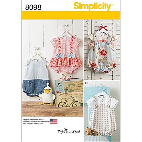 Simplicity Spädbarn sparkdräkt/sandaler, och fyllt anka mönster, papper