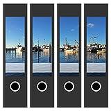 Ordneretiketten | 4 Aufkleber für breite Akten-Ordner | Boote im Hafen | selbstklebende Design Akten-Etiketten | Deko Sticker für Rückenschilder Ordnerrücken | zum Beschreiben