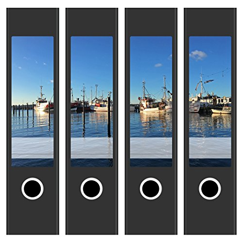 4 x Ordnerrücken Etiketten für breite Aktenordner im Set - Mit Design Motiv Boote im Hafen - Rückenschilder Aufkleber (6 cm breit) für Ordner - selbstklebend, beschreibbar